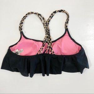 VS PINK Cheetah & Black Flounce Swim Top